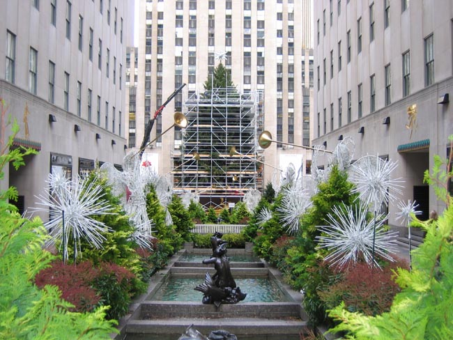 The Rockefeller Center Christmas Tree scaffolding comes down